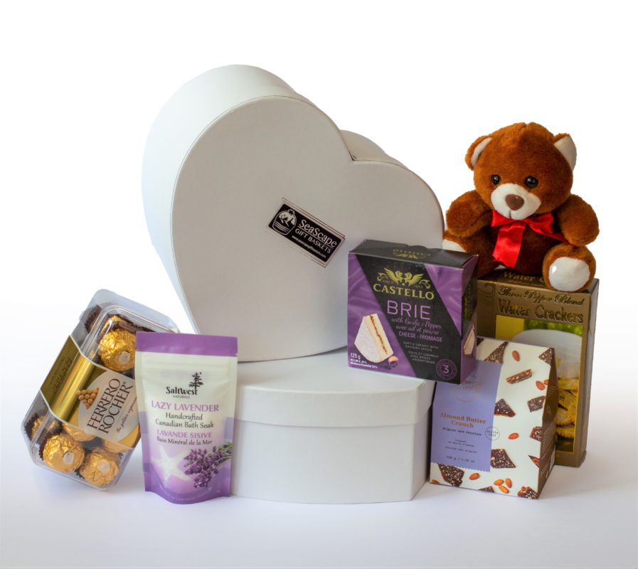 The Heart gift box with gourmet treats and bear